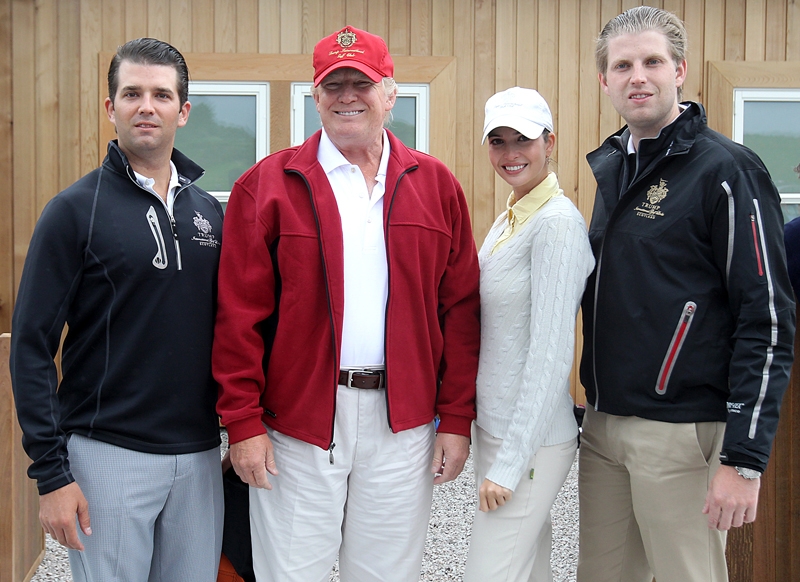 Donald Trump (2nd left) with his sons Donald Jnr (far left) and Eric (far right) and daughter Ivanka. Ph: Press Association