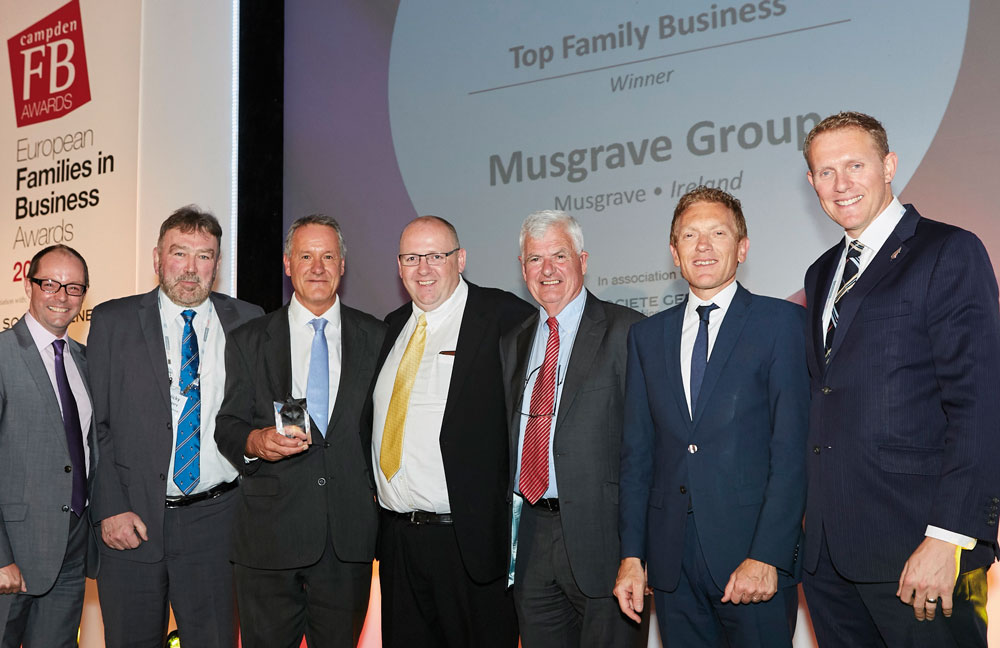 From left: Tim Jenkins, MC; Nicky Hartery, chairman of Musgrave Group; Chris Musgrave, vice chairman; Brian Thompson, chairman of the Next Generation Committee; Stuart Musgrave, retired non-executive family director; Jean-François Mazaud, head of SGPB; and Nicholas Moody, editor of CampdenFB