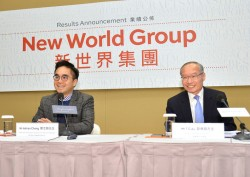 Adrian Cheng (left) leads New World Group's results announcement