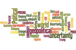 A word cloud representing how political and geopolitical uncertainty were common fears cited by CampdenFB.com poll respondents to the European Family Business Barometer 2017
