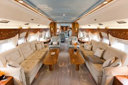 The interior of the Boeing Business Jet, which boasts its own lounge, office and boardroom/Images by Alex Peake, courtesy of PrivateFly.com